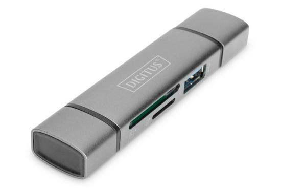 Digitus dvojitá čtečka karet OTG (USB-C + USB 3.0) 1x SD, 1x MicroSD, 1x USB 3.0, šedá, DA-70886