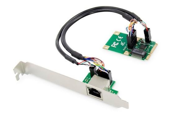 Digitus Gigabit Ethernet mini PCI Express Card, jeden port, nízkoprofilová záslepka, čipová sada Realtek, DN-10133