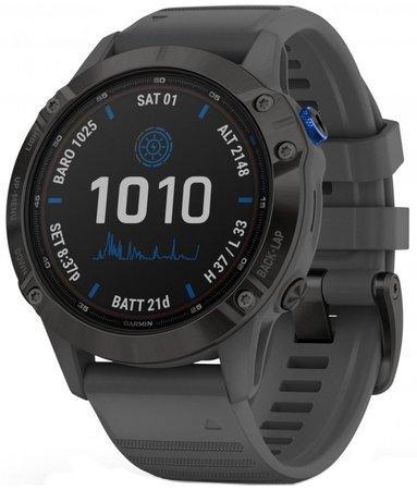 GPS hodinky Garmin fenix6 PRO Solar - Black/Slate Band (MAP/Music)