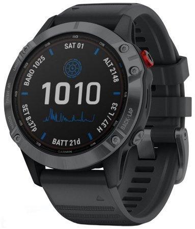 GPS hodinky Garmin fenix6 PRO Solar - Gray/Black Band (MAP/Music)