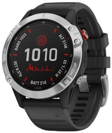 GPS hodinky Garmin fenix6 Solar - Silver/Black Band