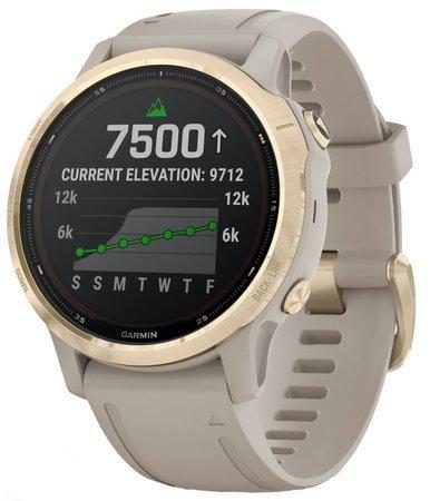GPS hodinky Garmin fenix6S PRO Solar - Light Gold/Sand Band (MAP/Music)