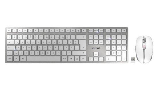 CHERRY set klávesnice a myši DW 9000 slim EU layout stříbrná/bílá, JD-9000EU-1