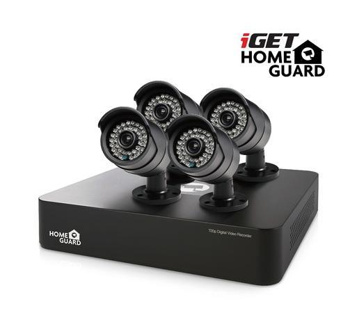 Kamerový systém iGET HOMEGUARD HGDVK46704 - 4-kanálový HD rekordér DVR + 4x barevná venkovní HD kamera 720p, 75020517