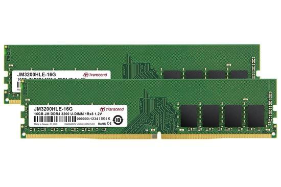 Transcend paměť 32GB DDR4 3200 U-DIMM (JetRam) KIT (2x16GB) 1Rx8 CL22, JM3200HLE-32GK
