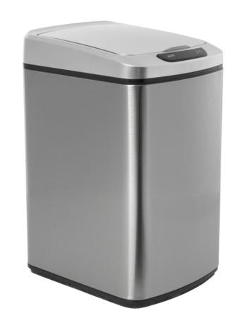 iQtech Quadrat 15 l, bezdotykový odpadkový koš hranatý, stříbrný, nerez/plast