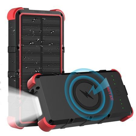 OUTXE Odolná IP67 Bezdrátová Solární Power Banka Type C/microUSB QuickCharge 25000mAh Black Red