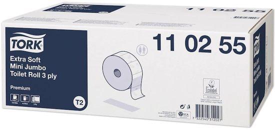 "Toaletní papír ""Premium mini jumbo"", extra bílá, T2 systém, 3-vrstvý, 19 cm průměr, TORK, karton 12"