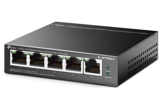 TP-LINK TL-SF1005LP 5-Port 10/100 Mbps Desktop Steel Case Switch with 4-Port PoE 41W PoE budget