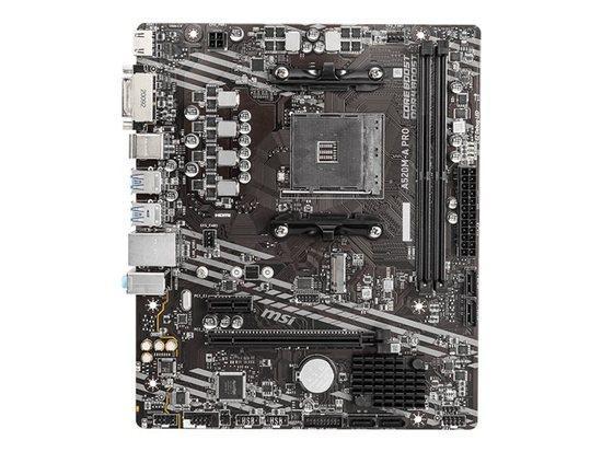 MSI A520M-A PRO AM4 DDR4 1xM.2 4xSATA HDMI DVI-D M-ATX MB, A520M-A PRO