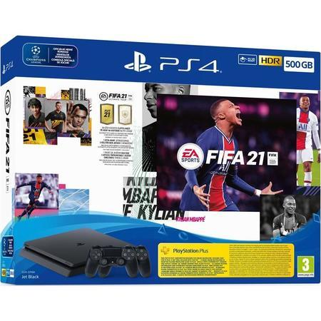 PS4 - Playstation 4, bl 500GB + FIFA21 + 2x DS4