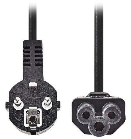 NEDIS napájecí kabel 230V/ přípojný 10A/ konektor IEC-320-C5/ úhlová zástrčka Schuko/ trojlístek/ černý/ 3m