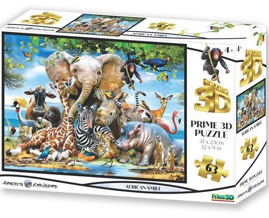 PRIME 3D Puzzle Africký úsměv 3D 63 dílků