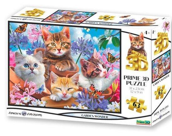 PRIME 3D Puzzle Koťata v zahradě 3D 63 dílků