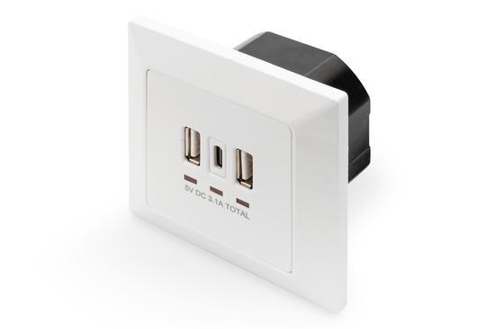 DIGITUS Nabíjecí zásuvka na zeď pro smartphony/tablety s 2 x USB A, 1 x USB Type-C ™, 3100 mA, UP