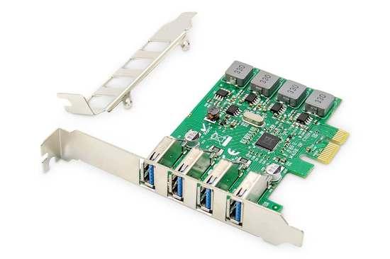 DIGITUS Přídavná karta USB PCI Express USB3.0, 4portový A / F, čipová sada: VL805, s vlastním napájením, DS-30226