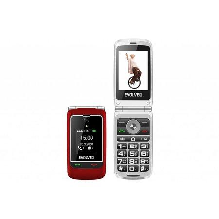 """EVOLVEO EasyPhone FG, vyklápěcí mobilní telefon 2,8"""" pro seniory s nabíjecím stojánkem (červená)"""