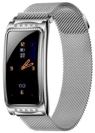 "IMMAX chytré hodinky Crystal Fit/ 1,08"" TFT/ RLC8762C/ BT 5.0/ IP67/ Android 4.4/ iOS 8.2/ dámské/ čeština/ stříbrné"