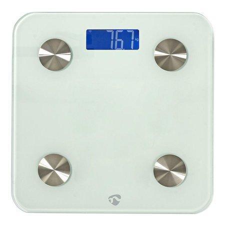 NEDIS Wi-Fi chytrá osobní váha/ BMI, tuk, voda, kosti, svaly, bílkoviny/ tvrzené sklo/ 8 uživatelů/ 3x AAA/R03/ bílá