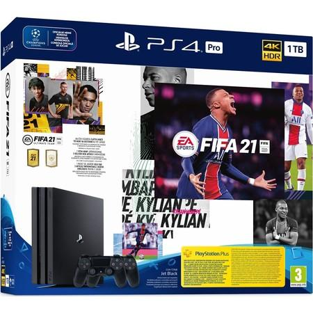 PS4 Pro - Playstation 4 Pro, bl + FIFA21 + 2x DS4