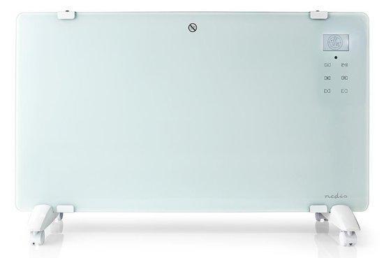 NEDIS Wi-Fi chytré konvekční topné těleso/ termostat/ skleněný přední panel/ IP24/ výkon 2000 W/ bílé