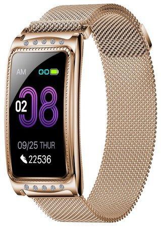 """IMMAX chytré hodinky Crystal Fit/ 1,08"""" TFT/ RLC8762C/ BT 5.0/ IP67/ Android 4.4/ iOS 8.2/ dámské/ čeština/ zlaté"""