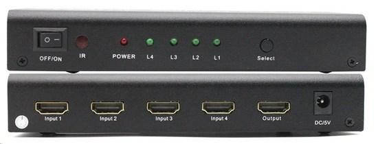 PREMIUMCORD HDMI switch 4:1 kovový s dálkovým ovladačem a napájecím adaptérem, khswit41b