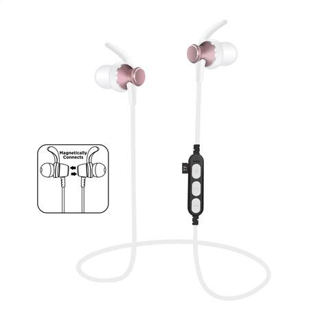 Platinet BLUETOOTH V4.2 sluchátka s mikrofonem, do uší, růžová, microSD slot