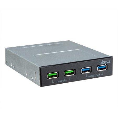 AKASA přední panel HUB 4 Port USB nabíjecí panel s dual Quick Charge 3.0 a dual USB 3.1 porty