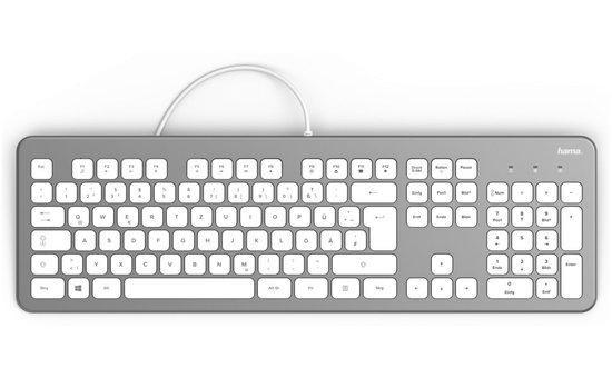 HAMA klávesnice KC-700/ drátová/ USB/ CZ+SK/ stříbrná/bílá, 182651