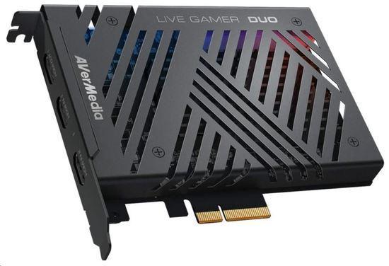 AVERMEDIA Live Gamer DUO GC570D, duální střihová karta, PCI-E, 2x HDMI, Full HD, 2160p, MPEG 4, RGB podsvícení, 61GC570D00A5