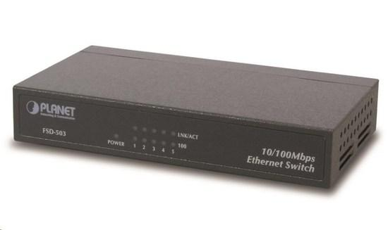 """Planet FSD-503 Switch, 5x 10/100Base-TX, 10"""", kov, fanless, FSD-503"""