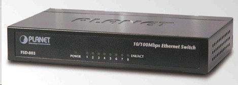 """Planet FSD-803 Switch, 8x10/100Base-TX, 10"""", kov, desktop, fanless, FSD-803"""