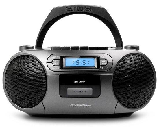 AIWA BBTC-550MG/ Boombox/ Přehrávač CD, Kazeta, USB/ BT/ FM/ 3W + 3W/ Šedivý