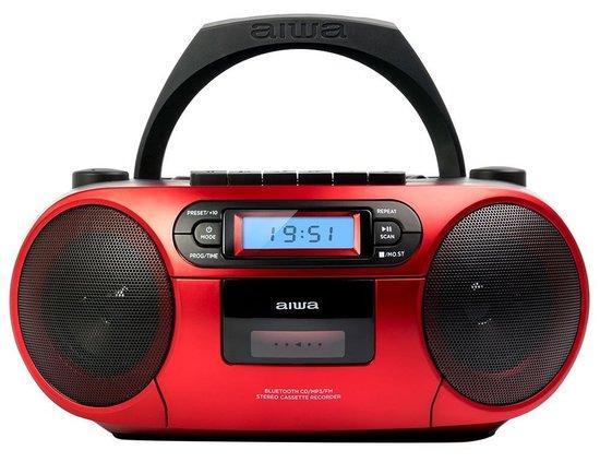 AIWA BBTC-550RD/ Boombox/ Přehrávač CD, Kazeta, USB/ BT/ FM/ 3W + 3W/ Červený