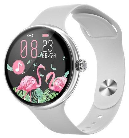 "IMMAX chytré hodinky Lady Music Fit/ 1,1"" LCD/ MT2502D/ BT 4.2/ IP67/ Android 4.0/ iOS 8.0/ dámské/ čeština/ stříbrné"