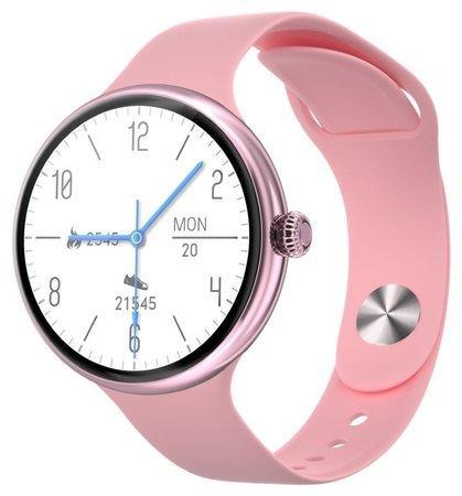 "IMMAX chytré hodinky Lady Music Fit/ 1,1"" LCD/ MT2502D/ BT 4.2/ IP67/ Android 4.0/ iOS 8.0/ dámské/ čeština/ růžové"