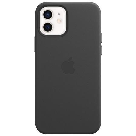 Kryt na mobil Apple Leather Case s MagSafe pro iPhone 12 a 12 Pro - černý