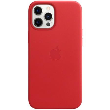 Kryt na mobil Apple Leather Case s MagSafe pro iPhone 12 Pro Max - (PRODUCT)RED