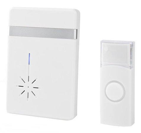 NEDIS sada bezdrátového domovního zvonku/ napájení na baterii/ 36 melodií/ dosah 300 m/ 80 dB/ bílá