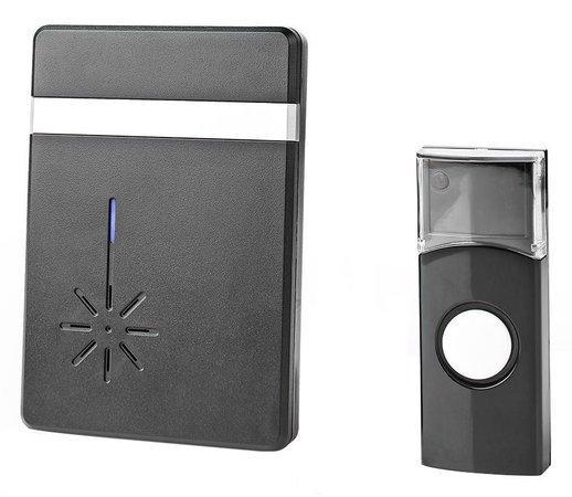 NEDIS sada bezdrátového domovního zvonku/ napájení na baterii/ 36 melodií/ dosah 300 m/ 80 dB/ černá