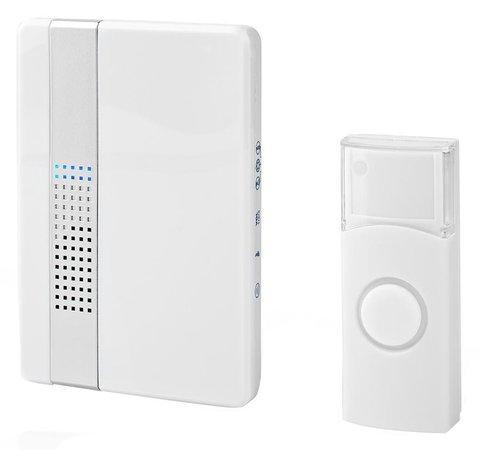 NEDIS sada bezdrátového domovního zvonku/ napájení ze sítě/ 36 melodií/ dosah 300 m/ 80 dB/ bílá
