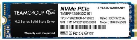 Team SSD M.2 256GB (R:2700, W:850), MP34 PCI-e Gen3.0 x4 NVMe 1.3, TM8FP4256G0C101