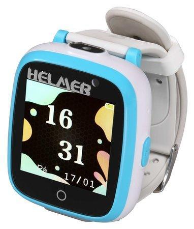 """HELMER dětské chytré hodinky KW 802/ 1.54"""" TFT/ dot. display/ IP66/ 2x foto/ video/ volání/ 6 her/ MP3/ CZ/ modro-bílé"""