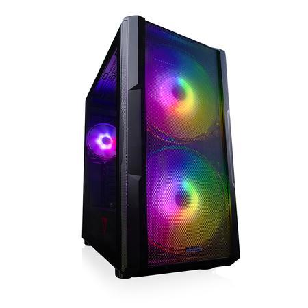 Modecom PC herní skříň VOLCANO AMIRANI ARGB BLACK MIDI, 2x USB 3.0, 1x USB-C, audio HD, černá, bez zdroje