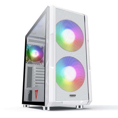 Modecom PC herní skříň VOLCANO AMIRANI ARGB WHITE MIDI, 2x USB 3.0, 1x USB-C, audio HD, bílá, bez zdroje