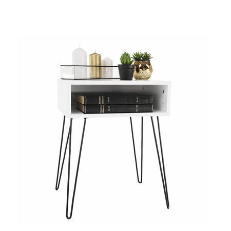 Tempo Kondela Příruční/noční stolek, bílá/černá, HONEJ