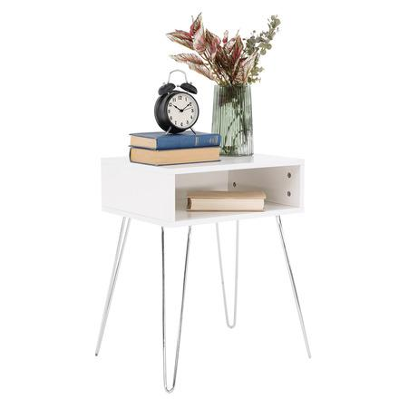 Tempo Kondela Příruční/noční stolek, bílá/chrom, LAMAJ