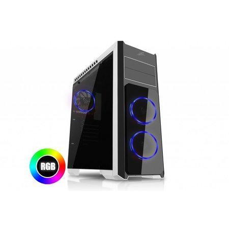 EVOLVEO Ray 4R, case ATX, 3x RGB rainbow ring ventilátor, CAER4R