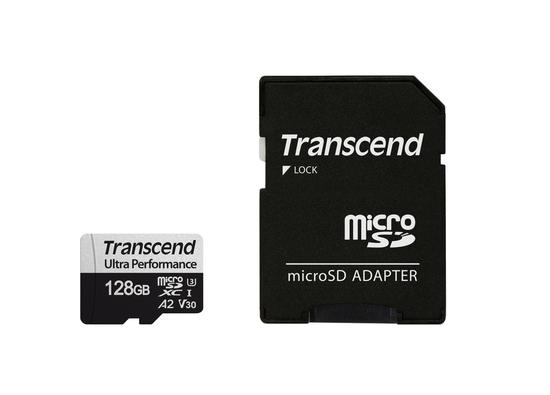 Transcend 128GB microSDXC 340S UHS-I U3 V30 A2 3D TLC (Class 10) paměťová karta (s adaptérem), 160MB/s R, 125MB/s W